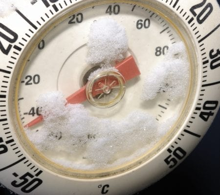 A thermometer shows 40 below